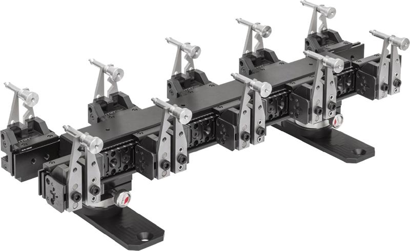 10-fach-Aufspannung auf Balken, mit Adapter für raschen Wechsel